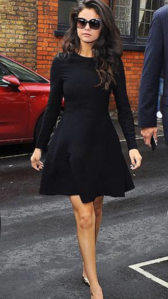 dress black black dress selena gomez dress fashion style sunglasses shoes selena gomez
