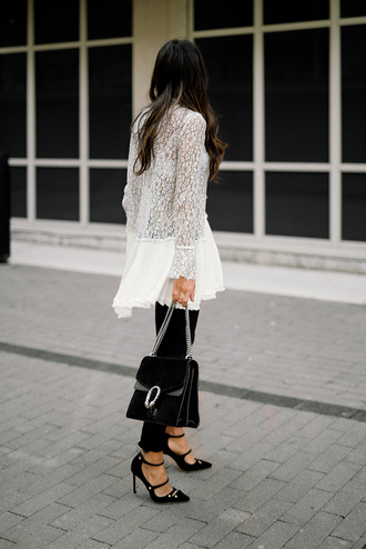 top tumblr white top white lace top lace top long sleeves bell sleeves pumps pointed toe pumps high heel pumps black heels pants black pants bag black bag gucci gucci bag dionysus chain bag
