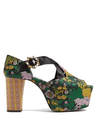 rose jacquard sandals platform sandals green shoes