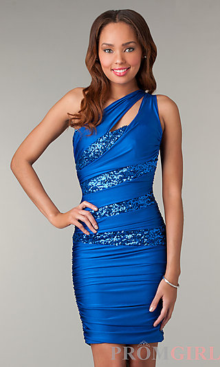 One Shoulder Homecoming Dresses, Atria Sexy Dresses- PromGirl