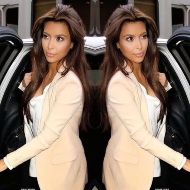 jacket hair brow hair brunette kim kardashian light