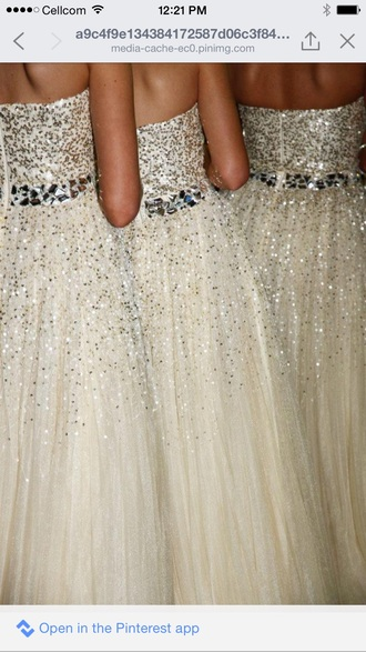 long white or beige with silver sequins