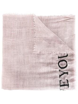women love i love you scarf silk wool purple pink