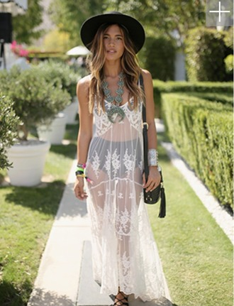 dress hat lace white bohemian cuff bracelet necklace statement necklace cover up white sheer dress coachella festival high waisted bikini white lace dress