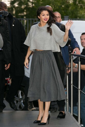 skirt top selena gomez grey midi skirt crop tops sweater cropped sweater cropped pumps all grey everything
