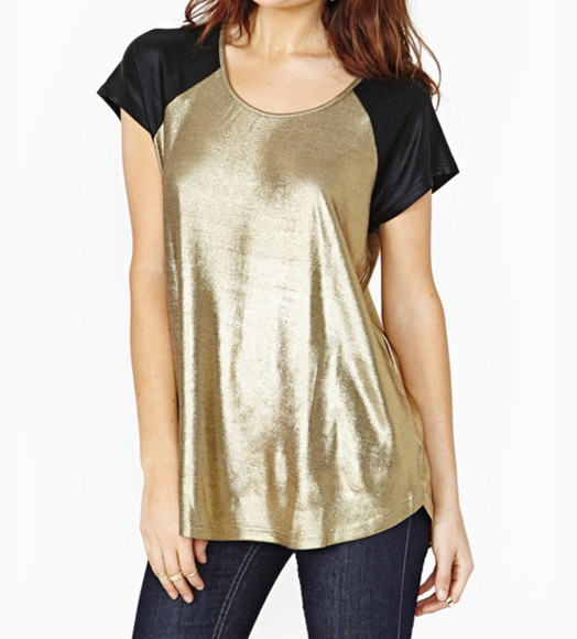 top gold t-shirt metallic shirt color block casual chic blogger blogger vogue t-shirt