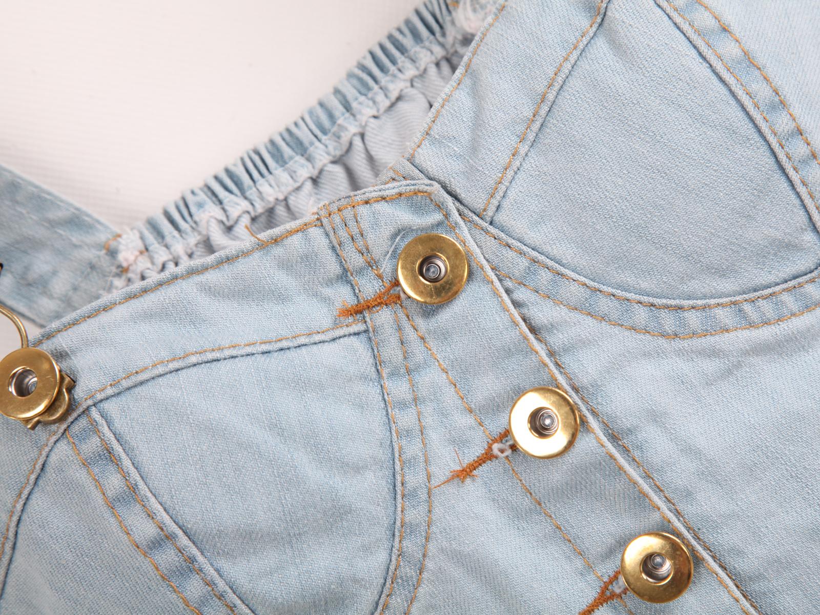Blue Spaghetti Strap Buttons Denim Vest - Sheinside.com
