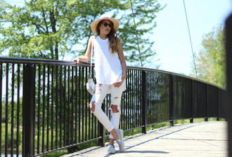 the marcy stop blogger white top halter top white ripped jeans slip on shoes spring straw hat