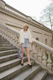 the limits of control,blogger,t-shirt,denim skirt,slide shoes,spring outfits,shoes,jacket