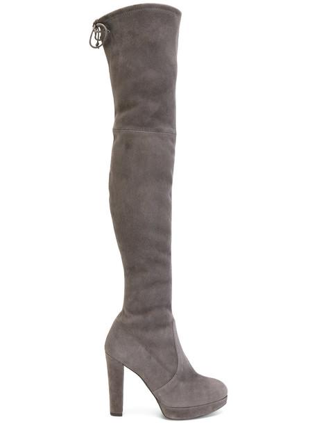 STUART WEITZMAN women leather suede grey shoes