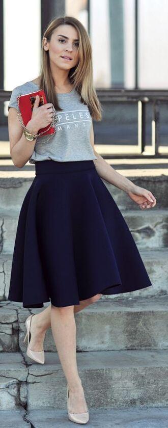 skirt circle skirt dark blue