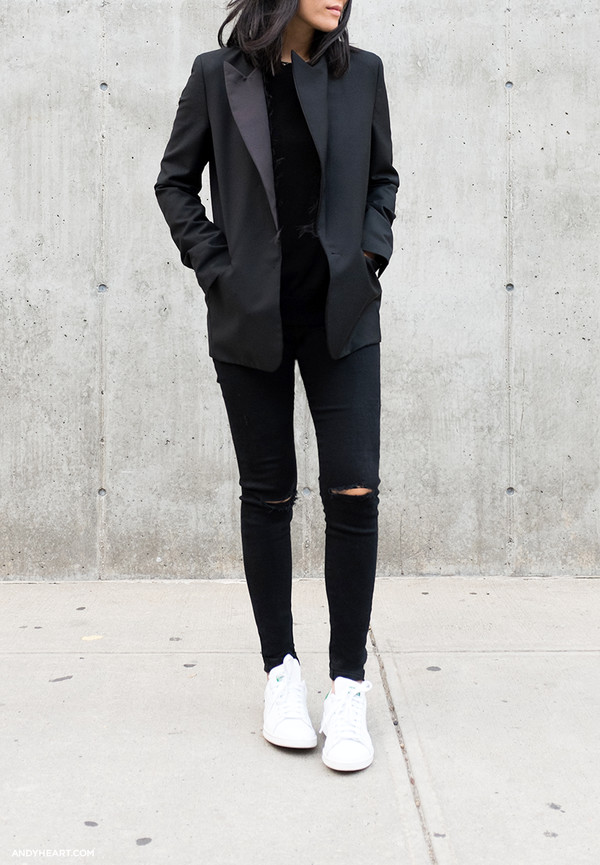 andy heart blogger jacket jeans pants ripped coat black coat shoes