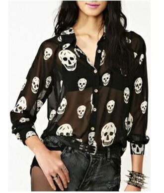 blouse black and white blouse black and white chiffon chiffon blouse skull print blouse button front blouse long sleeves www.ustrendy.com