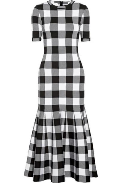 oscar de la renta dress jacquard black wool gingham