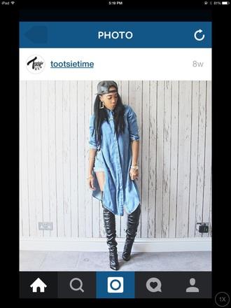 top style dope fashion streetstyle streetwear denim jacket tumblr outfit black heels hat