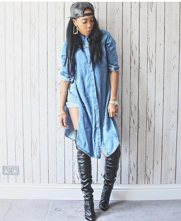 Top Style Dope Fashion Streetstyle Streetwear Denim Jacket Tumblr Outfit Black Heels