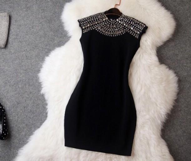 little black dress bling black dress beaded rivets dress jewels mariage wedding black dress sexy dress black silver shoes