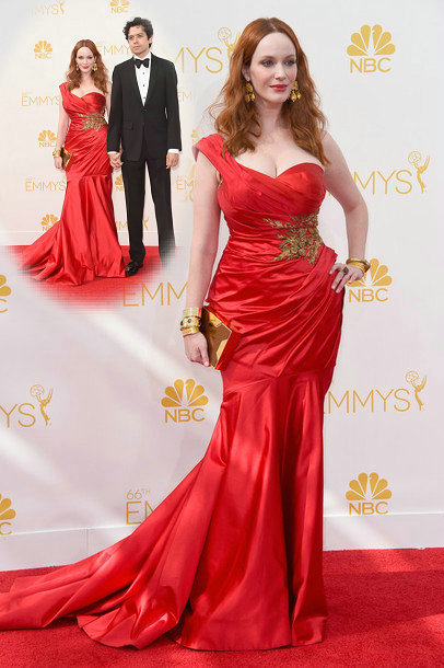 Aliexpress.com : Buy Red Vestidos Para Formatura 2014 Christina Hendricks One Shoulder Appliqued Mermaid Emmy Celebrity Evening Dresses from Reliable dress up princess party suppliers on 27 Dress