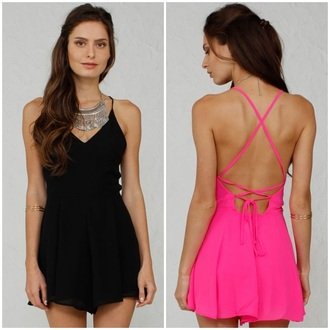 romper angl hot pink pink black tie back backless sexy flirty chic arm cuff bold fashion girly