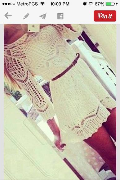 white short dress lace dress knitted dress