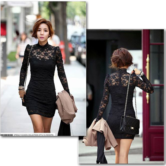 Women's Long Sleeve Polo Neck Sexy Clubwear Party Cocktail Lace Mini Dress 176 | eBay