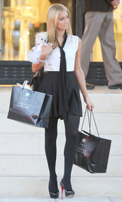 dress,paris hilton,black and white dress