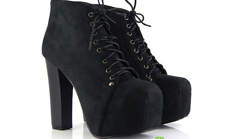 Hot women vintage lace up thick heels super high round toe ankle boots shoes