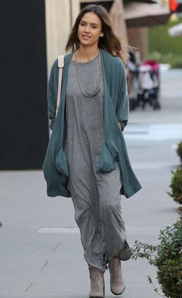 dress grey spring cardigan jessica alba ankle boots purse midi dress