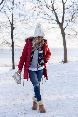 suburban faux-pas blogger hat sunglasses jacket sweater shirt jeans shoes bag beanie red coat winter boots louis vuitton bag vest winter outfits