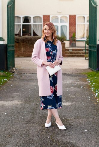 not dressed as lamb - over 40 fashion blog blogger jumpsuit coat shoes bag jewels blue jumpsuit pink cardigan spring outfits