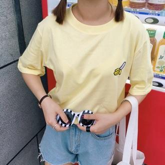 t-shirt yellow banana print cute summer spring casual cool boogzel