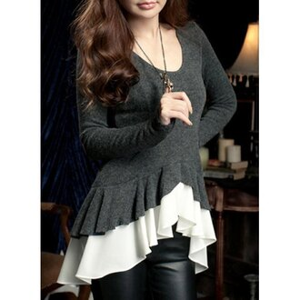 sweater top cute fashion style grey trendy white girly long sleeves peplum ruffle feminine adorable outfit