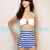 Vintage Retro Bandeau Anchor Nautical Strip High Waisted Button Bikini White Ml | eBay