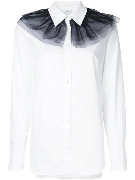 Osman - tulle detail shirt - women - Cotton/Polyamide - 12, White, Cotton/Polyamide