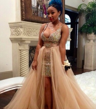 dress gold beige dress beige cute high to low fluffy starquality zonnique pullins blue hair sparkles homecoming dress evening dress formal event outfit graduation dress cute dress black girls slayin black girls killin it pretty prom