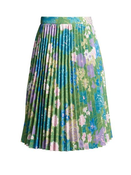 skirt pleated skirt pleated print green