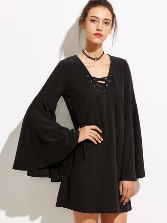 dress black dress black bell sleeves lace up mini dress wide sleeve boho hippie goth grunge gothic dress