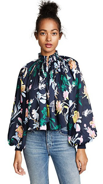 Tibi top cropped floral navy