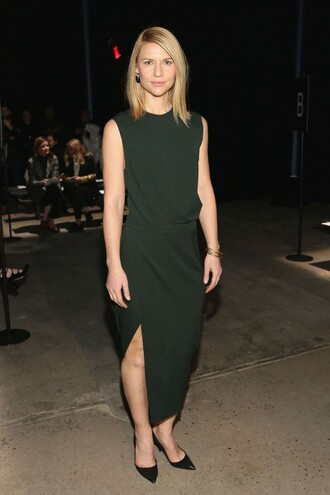 blouse skirt slit skirt green claire danes fashion week 2016 ny fashion week 2016 pumps