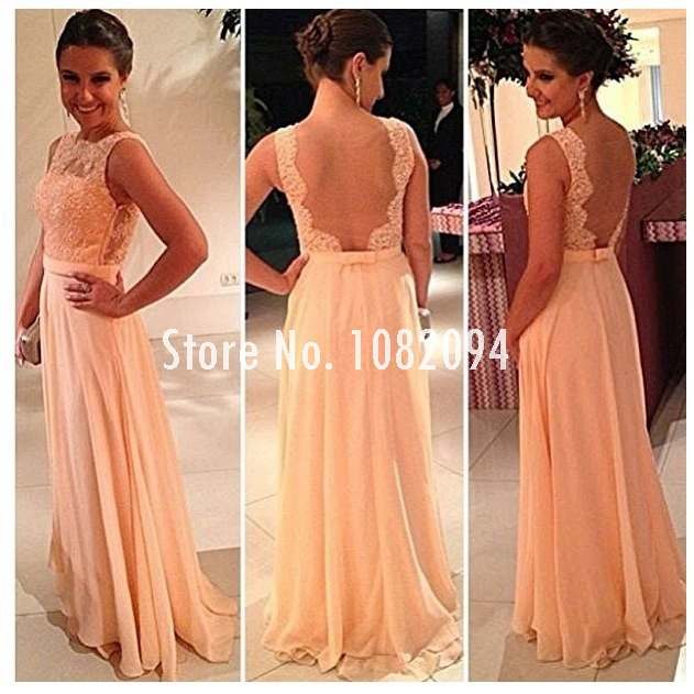 Aliexpress.com : Buy Sexy nude back lace top chiffon long evening gowns/red carpet dresses/prom dresses from Reliable carpet wall suppliers on Yesido Bridal Shop