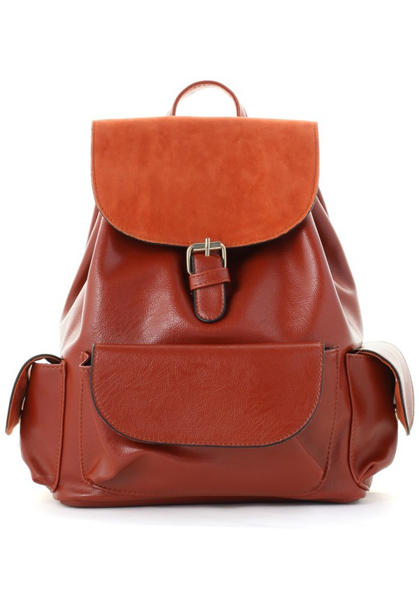 bag chicwish classic orange flap pockets backpack leather backpack