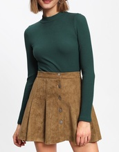 skirt,girly,brown,suede,suede skirt,button up
