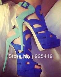 Sexy ladies suede creux, style romain sandales à talons hauts bleu,& rose dans  de  sur Aliexpress.com