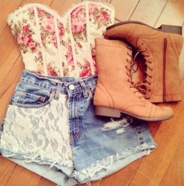 shoes shirt shorts lace jeans bustier roses floral blouse top