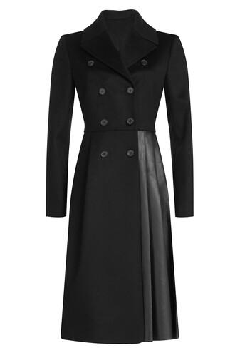 coat leather wool black