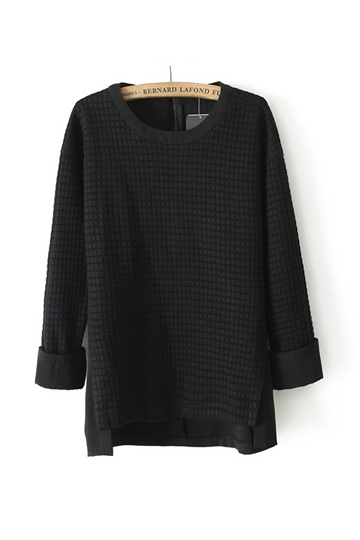 High Low Flank Splits Cotton Shirt [FDBI00419]- US$25.99 - PersunMall.com