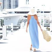 dress,light blue,blue,blue dress,light blue dress,periwinkle blue,blogger,top blogger lifestyle,summer,summer outfits,maxi,maxi dress,spaghetti strap,spring,spring outfits,braided,escloset