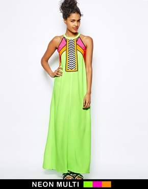 River Island | River Island Neon Color Block Maxi Dress at ASOS