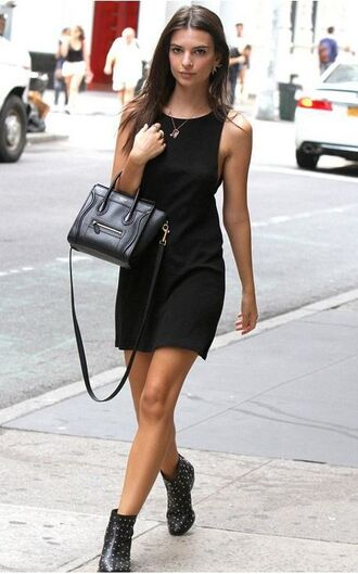 dress black bag reformation reformation dress black dress mini dress short dress summer dress sleeveless dress boots studded shoes celine celine bag ankle boots black boots all black everything emily ratajkowski model model off-duty necklace jewels