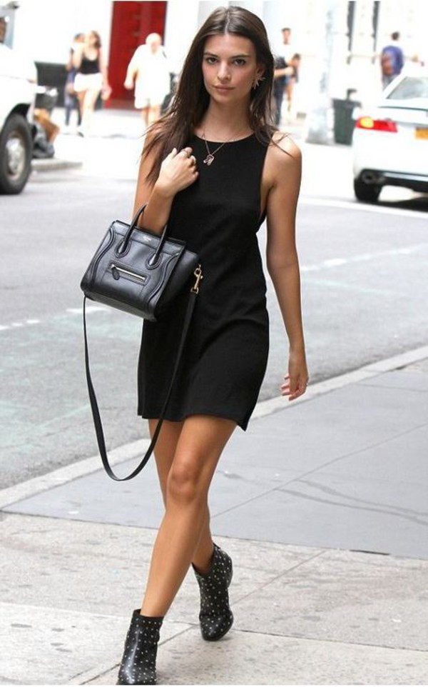 Dress Black Dress Emily Ratajkowski Ankle Boots Purse Little